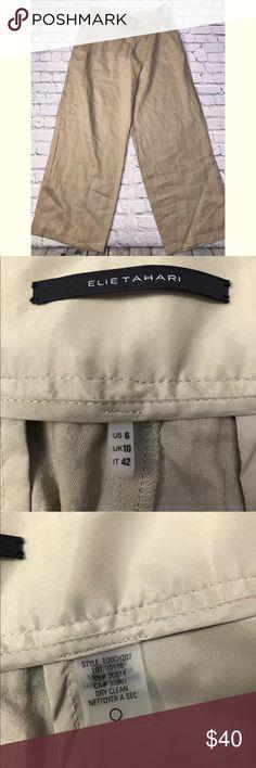 "Elie Tahari Linen Pants Elie Tahari Womens Pants Linen Belted Trousers Slacks Career 6 Size:6 Type:pants Style:linen Brand:Elie Tahari Color: Tan Measurements ~waist across: 16.5"" Inseam: 31.5""   Condition:Gently used Elie Tahari Pants Trousers"