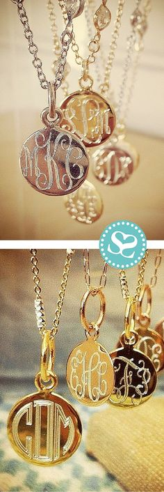 Stunning delicate monogrammed necklaces in sterling silver with a thick plating of gold or rose gold. Our craftsmen engrave these pieces locally with love. Customize yours with a monogram on the front and a special sentiment or date on the back for the m Cute Jewelry, Jewelry Box, Jewelry Accessories, Fashion Accessories, Fashion Jewelry, Unique Jewelry, Resin Jewelry, Vintage Jewelry, Disc Necklace