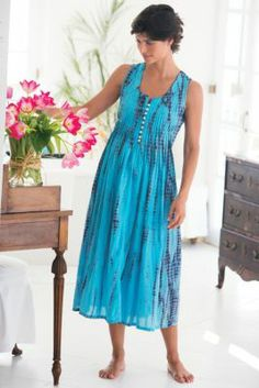 Summer Vacation Gown - Tie Dyed Gown, Blue Cotton Gown, Scoop Neck Gown  | Soft Surroundings