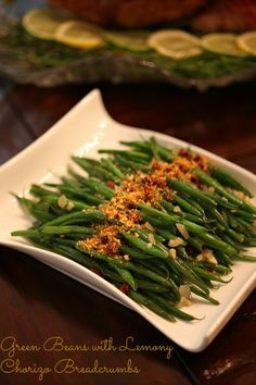 Forget the green bean casserole and try Sauteed Green beans with Lemony Chorizo Breadcrumbs www.fooddonelight.com
