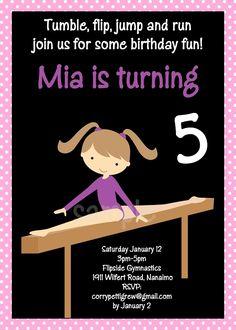 Gymnastics Birthday Invitations by Cutie Patootie Creations  www.cutiepatootiecreations.com