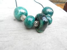 leather necklace with raku pottery by LeTerreDellaTorre on Etsy
