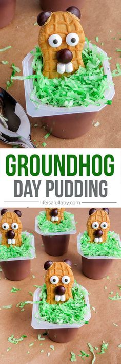 These Groundhog Day Pudding Cups made with Nutter Butter cookies are so cute!! These would be perfect for a preschool or kindergarten activity or snack idea for kids.