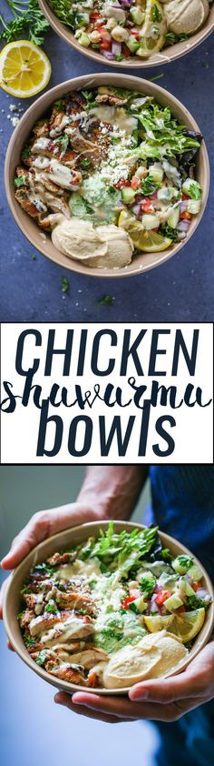 Healthy Homemade Chicken shawarma bowls filled with homemade chicken, salad, hummus, and a very special yogurt jalapeno sauce. Make your own shawarma bowls are Clean Eating, Healthy Eating, Healthy Chicken, Chicken Recipes, Dinner Bowls, Cooking Recipes, Healthy Recipes, Le Diner, Food Bowl
