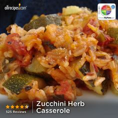 Zucchini Herb Casserole from Allrecipes.com #myplate #veggies #grain #dairy