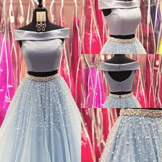 Two Piece Long Prom Dress, Light Sky Blue Prom Dress, Off The Shoulder Prom Dress,Sexy Prom Gown , Customize Made Prom Dresses Long Pink, Trendy Dresses, Fashion Dresses, Dress Prom, Dress Long, Indian Designer Outfits, Indian Outfits, Designer Dresses, Indian Gowns Dresses