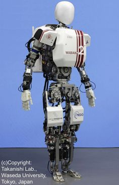 """visualreverence:  """"…WABIAN-2R (WAseda BIpedal humANoid - No. 2 Refined)has been regarded as one of the world's most sophisticated humanoid robots since it was unveiled in 2006. It stands 148cm (4 feet 10 inches) tall, weighs 64kg (141 pounds), and,with its 41 degrees of freedom, can perform very human-like movements. What sets it apart from many other bipeds is its flexible pelvis, which gives it the ability to walk with stretched knees (unlikeHonda's ASIMO, among others)."""" [via]"""
