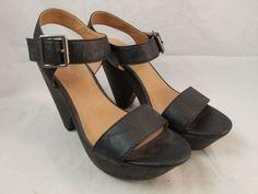 ALDO Black Wedge Heel Platform Sandals Ankle Strap Womens EU 39 / US 8.5