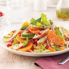 Warm salad of chicken. Inoa and clementines - recipes-caty Bruschetta, Clementine Recipes, Warm Salad, Thai Red Curry, Cobb Salad, Quinoa, Nutrition, Healthy Recipes, Healthy Food