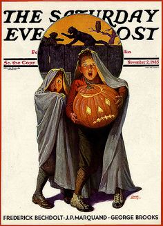 Saturday Evening Post--Kids Scaring Themselves--Vintage Halloween Magazine Cover