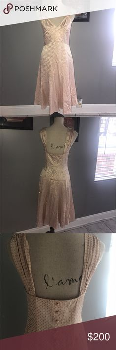 100% silk Marc jacobs pink and Gold dress Amazing beautiful new with tags. Size 6. You will stand out in this dress. Slightly raised Gold glitter polka dots. Cool back. Marc Jacobs Dresses