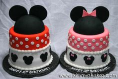 *o* cute mickey and minnie #disney cakes!