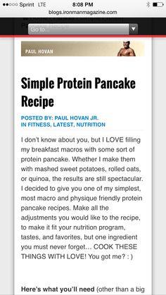 Ironman Magazine - Simple Protein Pancake Recipe - Macro Friendly - ➡️ http://blogs.ironmanmagazine.com/paulhovan/simple-protein-pancake-recipe/⬅️ #health #fitness #weightloss #nutrition #diet #wellness #exercise #workout #pancake