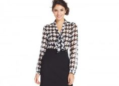 Houndstooth tie-front blouse - $59 - Photo: macys.com