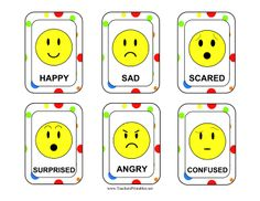 Happy, sad, angry, surprised, scared, and confused emoticons decorate this chart that helps young children express emotions. Free to download and print