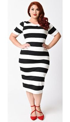 Unique Vintage Plus Size Black & White Stripe Short Sleeve Presley Wiggle Dress