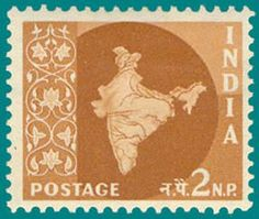 India Map with Multi-Star Watermark Released: 1st April 1956 - 7th May 1958 Price : 2 PS