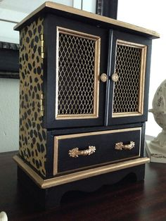 Antique Wood Jewelry Box Hand Painted and by ColorfulHomeDesigns, $62.00