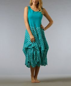 Take a look at this Bluebird Ruffle Sleeveless Dress by Vasna on #zulily today!