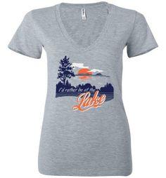 I'd Rather Be At The Lake Bella Ladies Deep V-Neck Shirt