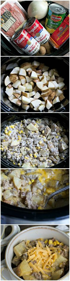Slow Cooker Hamburger Hash (easy crockpot meals with ground beef) Crock Pot Recipes, Crock Pot Food, Crockpot Dishes, Crock Pot Slow Cooker, Beef Dishes, Slow Cooker Recipes, Cooking Recipes, Soup Recipes, Dinner Recipes