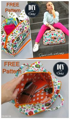 Free duffle bag or bowling style bag sewing pattern. Small purse size or kids si… Free duffle bag or bowling style bag sewing pattern. Small purse size or kids size duffle bag pattern. Easy Sewing Projects, Sewing Projects For Beginners, Sewing Hacks, Sewing Tutorials, Sewing Crafts, Sewing Tips, Bags Sewing, Quilting Projects, Duffle Bag Patterns