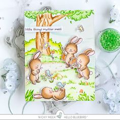 Nicky Noo Cards: Meadow Bunnies - New Release from Hello Bluebird Stamps Penny Black, Parakeet Colors, Bird Barn, Barn Owls, Lawn Fawn Blog, Large Stencils, Masculine Birthday Cards, White Gel Pen, Paint Background