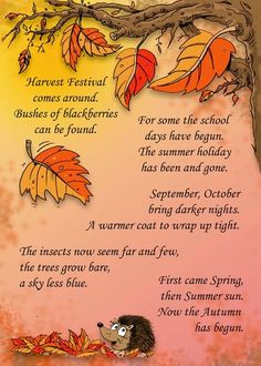 Cute poem to welcome Autumn Harvest Activities, Autumn Activities, Nursery Activities, Rhyming Activities, Harvest Poems, Harvest Prayer, Harvest Festival Crafts, Poems About School, School Poems