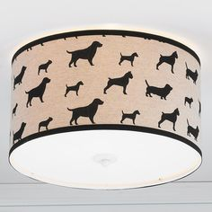 Dog Show Ceiling Light Black dog silhouettes march across natural linen for a BFF show on your ceiling!