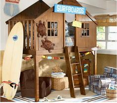 This beach house/fort for a kids room is Ah-Maze-Zing!! I would sleep there myself!