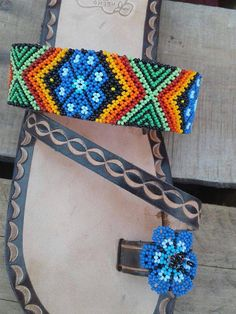 Size 11 USA Mexican beaded Huichol leather sandals