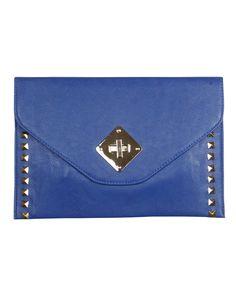 Stud Detail Envelope Leather Clutch Bag in Royal Blue £ 14.95 #chiarafashion