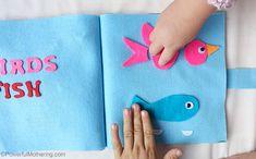 Creation: Birds & Fish - No Sew Quiet Book for Toddlers - Powerful Mothering Felt Busy Bag, Busy Bags, Hands On Activities, Preschool Activities, Felt Quiet Books, Toddler Books, Bible Lessons, Birds, Fish