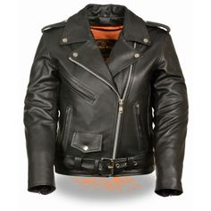 Milwaukee Fitted Classic Belted Womens Leather Motorcycle M/C Jacket is made of premium leather with snap down lapels, classic belt m/c style for clubs and cruiser style motorcycle riders.