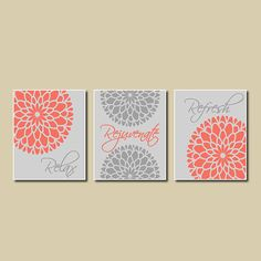 Merveilleux Modern Floral Flower Flourish Artwork Set Of 3 Trio Prints Relax Rejuvenate  Refresh Coral Gray Wall Art Decor Abstract Picture Bathroom Home