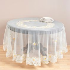 Saro Embroidered and Beaded Table Cloth