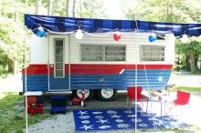 vintage camper, vintage camper makeover, camper, camping, laurie jones home, diy camper, red and white camper, decorating a camper, summer camping, glamping.