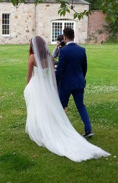 Bride groom Romona Keveza rk292 polka dot tulle ivory satin bodice bow  train chapel veil dapper blue tuxedo converse garden wedding spring a4a10a721085