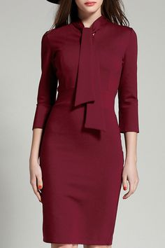 Burgundy Bow Collar Dress