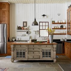 Farmhouse kitchen at its finest with our Constance Bay Kitchen Island. Adjustable Shelving, Open Shelving, Shelves, Kitchen Reno, Kitchen Island, Side Mount Drawer Slides, Trash And Recycling Bin, Drawer Hardware, Wood Species