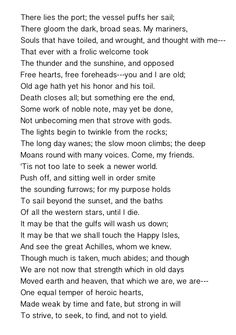 First two verses of The Lady of Shalott by Alfred, Lord Tennyson ...