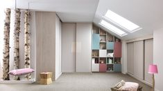 This corner wardrobe for attic bedrooms is finished in Slowwood melamine with Pashmina and Green Tea lacquer. Wardrobe Bed, Corner Wardrobe, Mirrored Wardrobe, Built In Wardrobe, Ceiling Murals, Sloped Ceiling, Dressing Angle, Made To Measure Wardrobes, Made To Measure Furniture