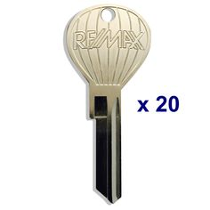 20 pcs. RE/MAX hot air balloon shaped closing keys - Nickel plate shiny silver finish. Custom RE/MAX stamping on both sides, we keep these in stock and they are only available here. Never sell a house