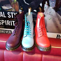 Brighten up your Wednesday with a pascal boot from Dr Martens... Pictured here in PURPLE, WILD AQUA BLUE AND BUFFALO BLOOD RED! @drmartensofficial #pascal #drmartensstyle #docs #colour #love #style #menswear #womenswear #purple #blue #red #spennymoor #noshitjustshoes