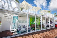 <p> The container had three room vignettes on the lower level, and the rooftop was decorated with outdoor furniture.</p>