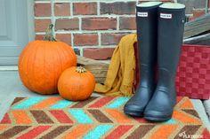 Fall Colored Herringbone Doormat Tutorial - DIY Playbook