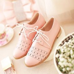 British Style Candy Color Low Wooden Heel Oxford Shoes