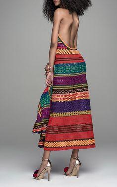 sweet backless crochet multi colored midi dress