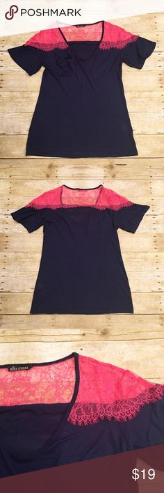 Navy blue/ neon pink lace ella moss t shirt, small Absolutely beautiful ella moss navy blue and neon pink pocket t shirt. The see through lace really gives this top that extra edge! Very soft material. 100% micro modal. In great condition. Approximately 25.5 and 27.5 inches in length. Sleeves are approximately 12 inches in length. Nordstrom Tops Tees - Short Sleeve