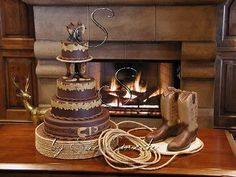 how fun, def not for the wedding cake but the grooms cake. Cowboy Wedding Cakes, Themed Wedding Cakes, Wedding Cake Toppers, Themed Cakes, Wedding Themes, Our Wedding, Dream Wedding, Wedding Ideas, Wedding Stuff